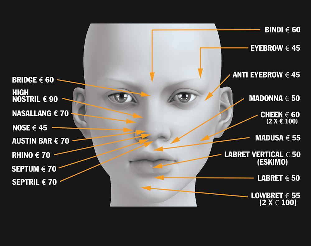 piercings for in facial area